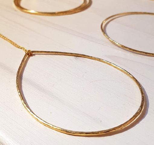Sautoir grande goutte martelée doré à l'or fin