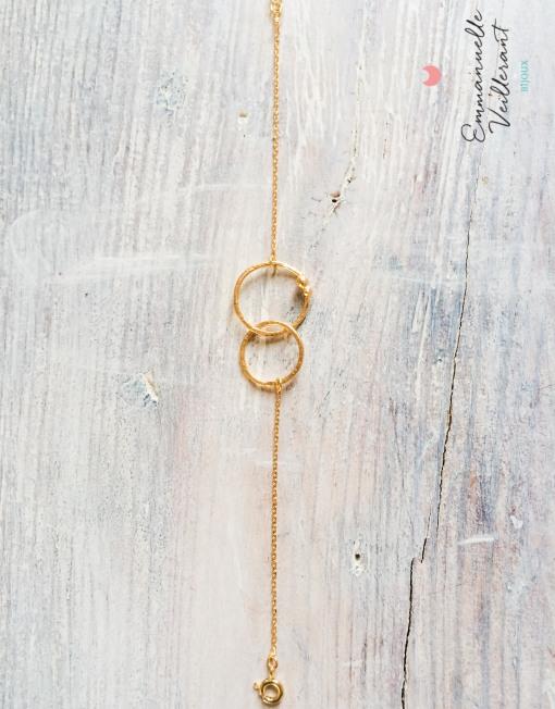 Bracelet double anneaux doré à l'or fin