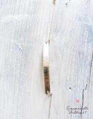 bracelet plaque martelée striée argent