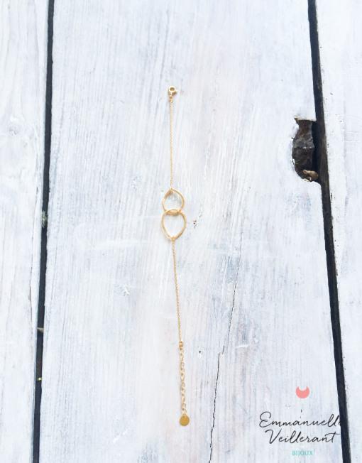 Bracelet double amande doré