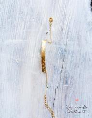 Bracelet plaque martelée doré à l'or fin