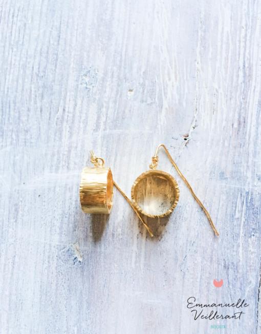 Boucles d'oreilles gros anneaux larges doré à l'or fin